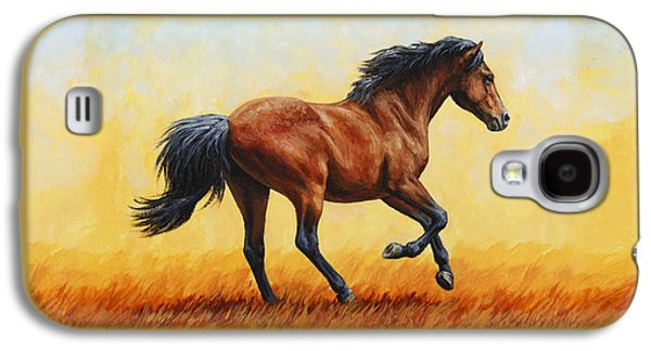 Wild Horse Paintings Galaxy S4 Cases - Running Horse - Evening Fire Galaxy S4 Case by Crista Forest