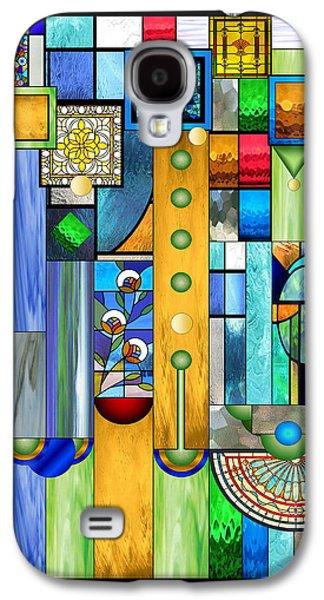Geometric Digital Art Galaxy S4 Cases - Art Deco Stained Glass 1 Galaxy S4 Case by Ellen Henneke