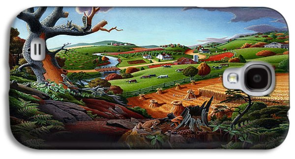 Farm Scene Galaxy S4 Cases - Appalachian Fall Thanksgiving Wheat Field Harvest Farm Landscape Painting - Rural Americana - Autumn Galaxy S4 Case by Walt Curlee