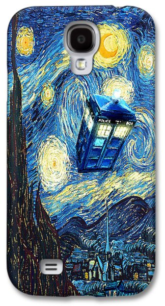 Night Angel Galaxy S4 Cases - Weird Flying Phone Booth Starry the night Galaxy S4 Case by Three Second