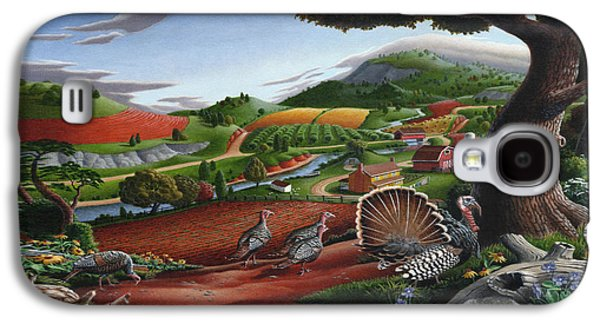 Wild Turkeys Appalachian Thanksgiving Landscape - Childhood Memories - Country Life - Americana Galaxy S4 Case by Walt Curlee