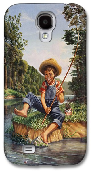 Charles River Paintings Galaxy S4 Cases - Boy Fishing In River Landscape - Childhood Memories - Flashback - Folkart - Nostalgic - Walt Curlee Galaxy S4 Case by Walt Curlee