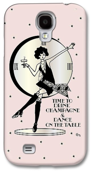 Hop Drawings Galaxy S4 Cases - Time to Drink Champagne and Dance on the Table 1920s Gatsby Flapper Girl pink Galaxy S4 Case by Cecely Bloom