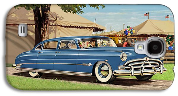 Lore Galaxy S4 Cases - 1951 Hudson Hornet fair americana antique car auto nostalgic rural country scene landscape painting Galaxy S4 Case by Walt Curlee
