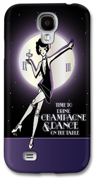 Jordan Drawings Galaxy S4 Cases - Time to Drink Champagne and Dance on the Table 1920s Gatsby Flapper Girl  Galaxy S4 Case by Cecely Bloom