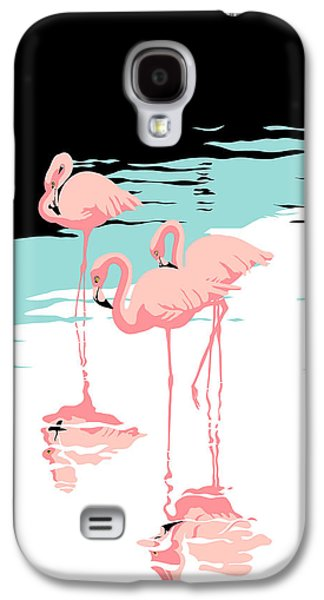 1980s Galaxy S4 Cases - Pink Flamingos tropical 1980s abstract pop art nouveau graphic art retro stylized florida print Galaxy S4 Case by Walt Curlee