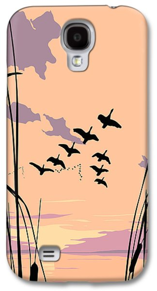 Black Bird.flying Paintings Galaxy S4 Cases - Abstract Ducks Sunset 1980s acrylic ducks sunset large 1980s pop art nouveau painting retro      Galaxy S4 Case by Walt Curlee