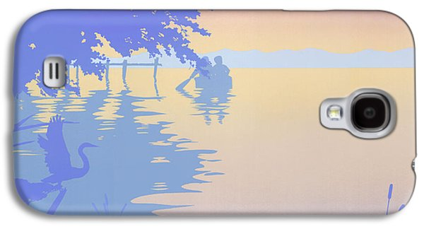 Abstract Seascape Paintings Galaxy S4 Cases - abstract tropical boat Dock Sunset large pop art nouveau retro 1980s florida landscape seascape Galaxy S4 Case by Walt Curlee