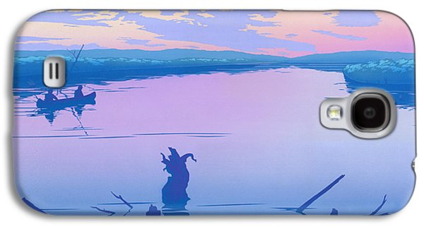 Sunset Abstract Galaxy S4 Cases - abstract people Canoeing river sunset landscape 1980s pop art nouveau retro stylized painting print Galaxy S4 Case by Walt Curlee