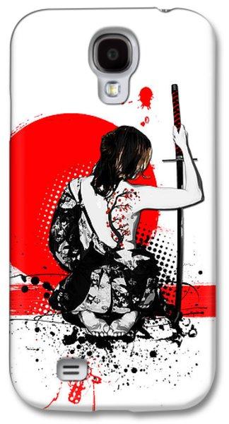 Digital Mixed Media Galaxy S4 Cases - Trash Polka - Female Samurai Galaxy S4 Case by Nicklas Gustafsson