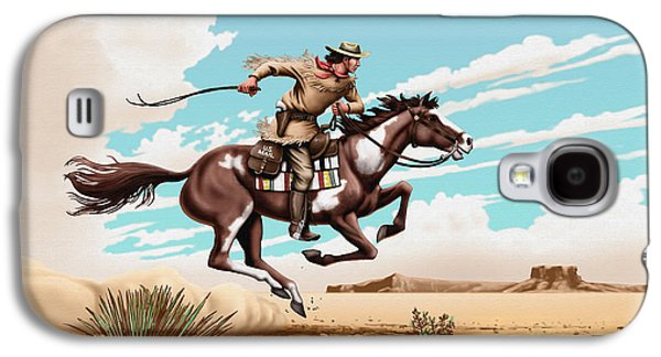 Us Postal Service Galaxy S4 Cases - Pony Express Rider historical americana painting desert scene Galaxy S4 Case by Walt Curlee