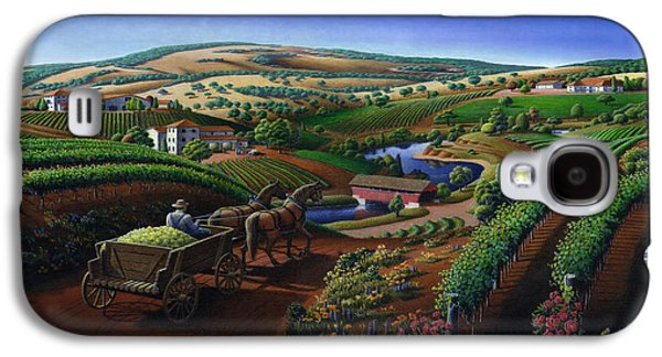 Sonoma County Vineyards. Galaxy S4 Cases - Old Wine Country Landscape Painting - Worker Delivering Grape To The Winery -Square Format Image Galaxy S4 Case by Walt Curlee