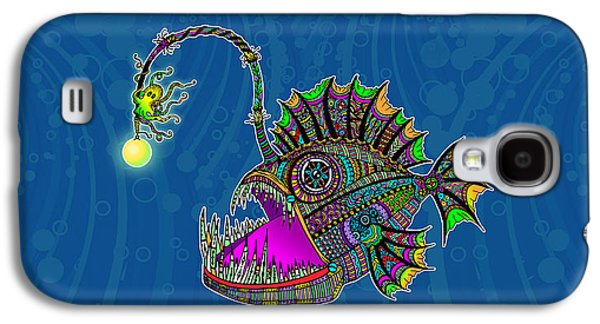 Trippy Drawings Galaxy S4 Cases - Electric Angler Fish Galaxy S4 Case by Tammy Wetzel
