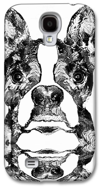 Boston Paintings Galaxy S4 Cases -  Boston Terrier Dog Black And White Art - Sharon Cummings Galaxy S4 Case by Sharon Cummings