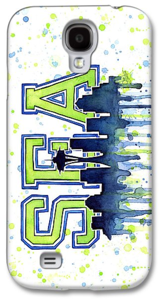 Green Galaxy S4 Cases - Seattle 12th Man Art Watercolor Painting Space Needle Go Seahawks Galaxy S4 Case by Olga Shvartsur