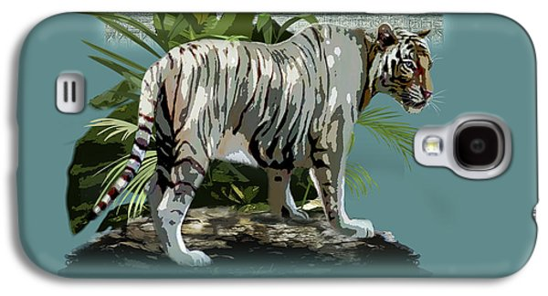 The Tiger Paintings Galaxy S4 Cases - White Tiger and the Taj Mahal Image of Beauty Galaxy S4 Case by Gina Femrite