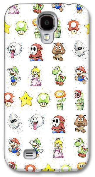 Peaches Galaxy S4 Cases - Mario Characters in Watercolor Galaxy S4 Case by Olga Shvartsur
