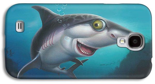 Shark Paintings Galaxy S4 Cases - friendly Shark Cartoony cartoon under sea ocean underwater scene art print blue grey  Galaxy S4 Case by Walt Curlee