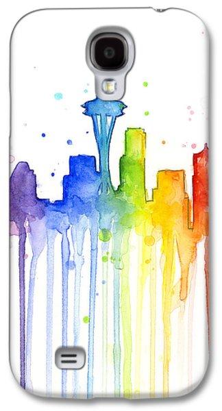 Pride Paintings Galaxy S4 Cases - Seattle Rainbow Watercolor Galaxy S4 Case by Olga Shvartsur