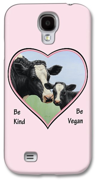 Holstein Cow And Calf Pink Heart Vegan Galaxy S4 Case by Crista Forest