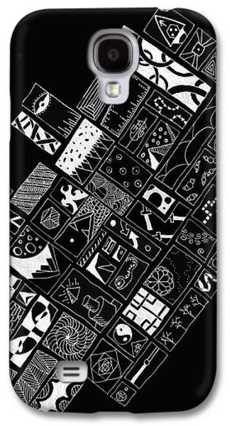 Abstract Shapes Drawings Galaxy S4 Cases - White on Black Galaxy S4 Case by Caffrey Fielding