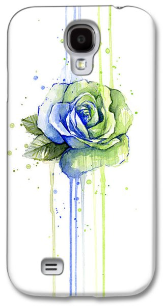 Drips Paintings Galaxy S4 Cases - Seattle 12th Man Seahawks Watercolor Rose Galaxy S4 Case by Olga Shvartsur