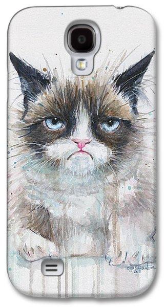 Grumpy Cat Watercolor Painting  Galaxy S4 Case by Olga Shvartsur