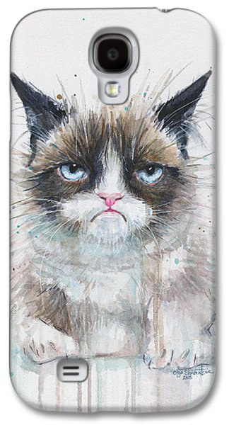 Print On Canvas Galaxy S4 Cases - Grumpy Cat Watercolor Painting  Galaxy S4 Case by Olga Shvartsur