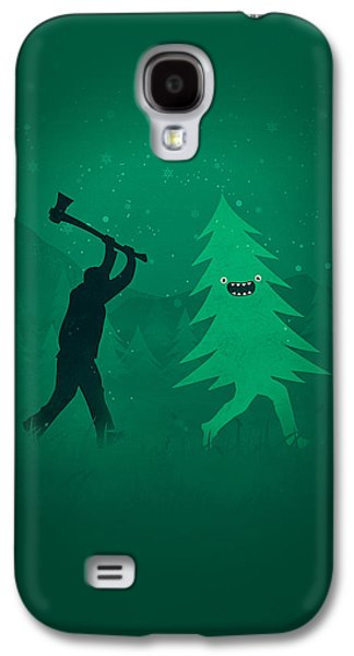 Funny Cartoon Christmas Tree Is Chased By Lumberjack Run Forrest Run Galaxy S4 Case by Philipp Rietz