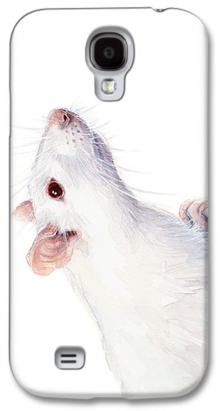 White Albino Rat Watercolor Galaxy S4 Case by Olga Shvartsur