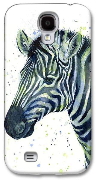 Zebra Watercolor Blue Green  Galaxy S4 Case by Olga Shvartsur