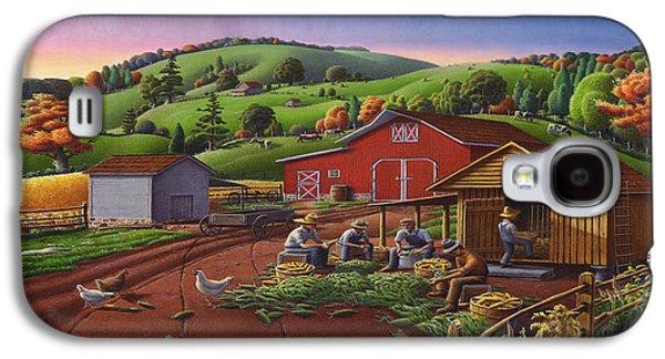 Kinkade Galaxy S4 Cases - Folk Art Americana - Farmers Shucking Harvesting Corn Farm Landscape - Autumn Rural Country Harvest  Galaxy S4 Case by Walt Curlee