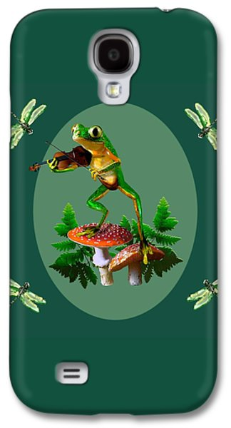 Humorous Tree Frog Playing A Fiddle Galaxy S4 Case by Regina Femrite