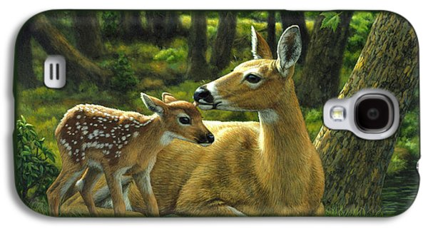 Green Galaxy S4 Cases - Whitetail Deer - First Spring Galaxy S4 Case by Crista Forest
