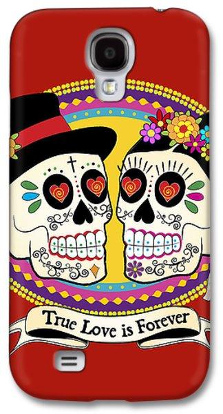 Tattoo Galaxy S4 Cases - Los Novios Sugar Skulls Galaxy S4 Case by Tammy Wetzel