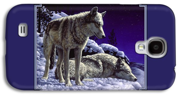 Dog Paintings Galaxy S4 Cases - Wolf Painting - Night Watch Galaxy S4 Case by Crista Forest