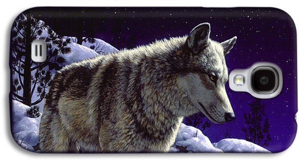 Night Sky Paintings Galaxy S4 Cases - Wolf Painting - Night Watch Galaxy S4 Case by Crista Forest