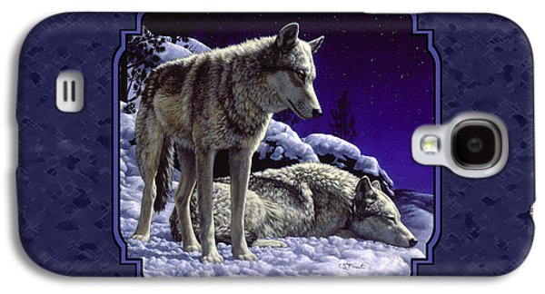 Winter Paintings Galaxy S4 Cases - Wolf Painting - Night Watch Galaxy S4 Case by Crista Forest