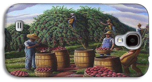 Kinkade Galaxy S4 Cases - Apple Harvest - Autumn Farmers Orchard Farm Landscape - Folk Art Americana Galaxy S4 Case by Walt Curlee