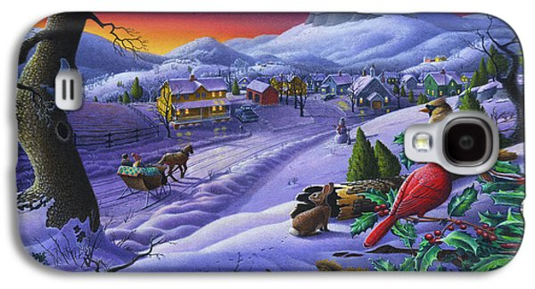 Winter Landscapes Galaxy S4 Cases -  Christmas Sleigh Ride Winter Landscape Oil Painting - Cardinals Country Farm - Small Town Folk Art Galaxy S4 Case by Walt Curlee