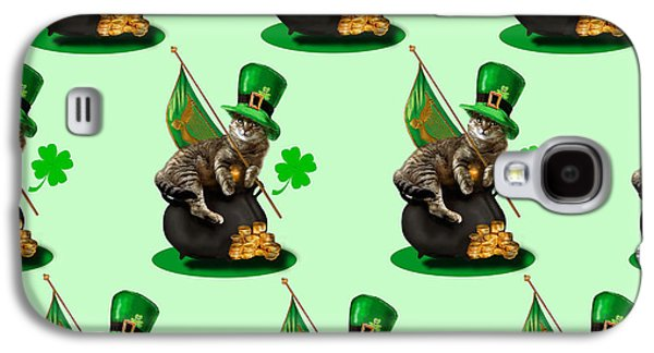 Humorous Greeting Cards Galaxy S4 Cases -  St. Patricks day Irish cat sitting on a pot of gold Galaxy S4 Case by Gina Femrite