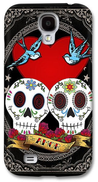 Good Luck Galaxy S4 Cases - Love Skulls II Galaxy S4 Case by Tammy Wetzel
