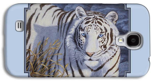 Stripes Paintings Galaxy S4 Cases - White Tiger - Crystal Eyes Galaxy S4 Case by Crista Forest