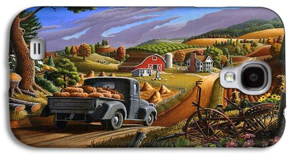 Kinkade Galaxy S4 Cases - Autumn Appalachia Thanksgiving Pumpkins Rural Country Farm Landscape - Folk Art - Fall Rustic Galaxy S4 Case by Walt Curlee