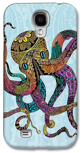 Trippy Drawings Galaxy S4 Cases - Electric Octopus Galaxy S4 Case by Tammy Wetzel