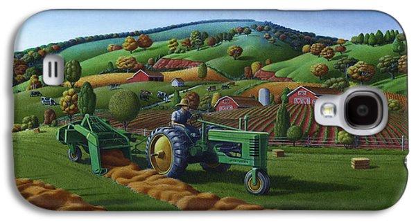 John Deere Tractor Baling Hay Farm Folk Art Landscape - Vintage - Americana Decor -  Painting Galaxy S4 Case by Walt Curlee