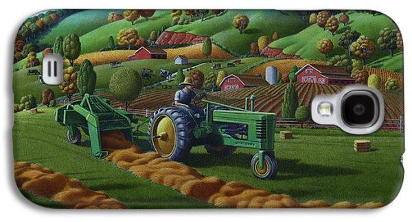 Kinkade Galaxy S4 Cases - John Deere Tractor Baling Hay Farm Folk Art Landscape - Vintage - Americana Decor -  Painting Galaxy S4 Case by Walt Curlee