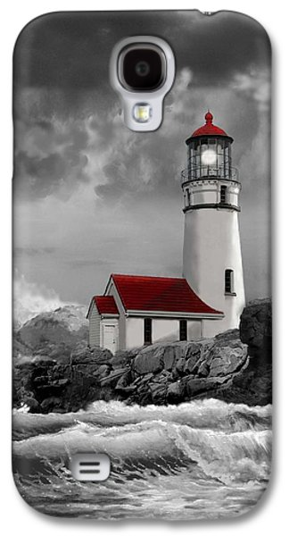 Oregon Lighthouse Cape Blanco In Black White And Red Galaxy S4 Case by Regina Femrite