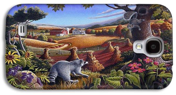 Rural Art Galaxy S4 Cases - Rural Country Farm Life Landscape folk art Raccoon Squirrel Rustic Americana scene  Galaxy S4 Case by Walt Curlee