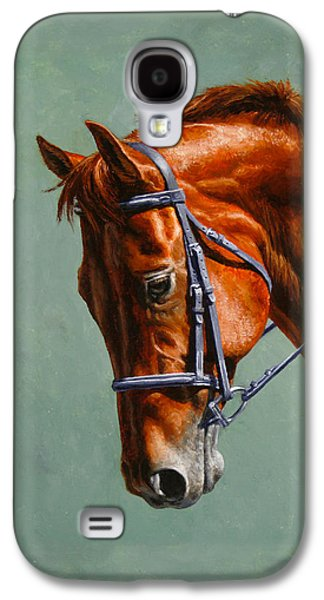 Chestnut Horse Galaxy S4 Cases - Horse Painting - Focus Galaxy S4 Case by Crista Forest